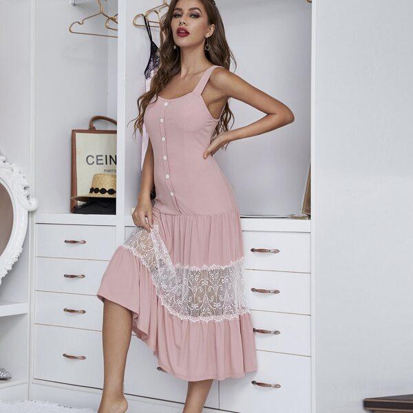 Lace Insert Ruffle Hem Night Dress, Pink
