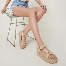 Bow Detailing Lug Platform Sandals