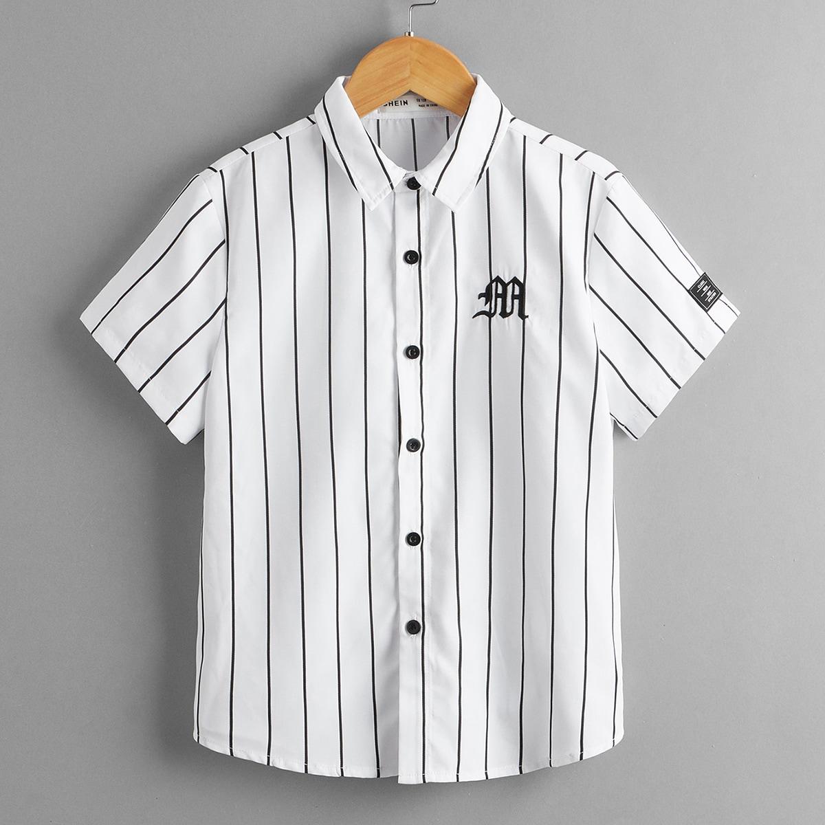 Рубашка в полоску с текстовой вышивкой для мальчиков