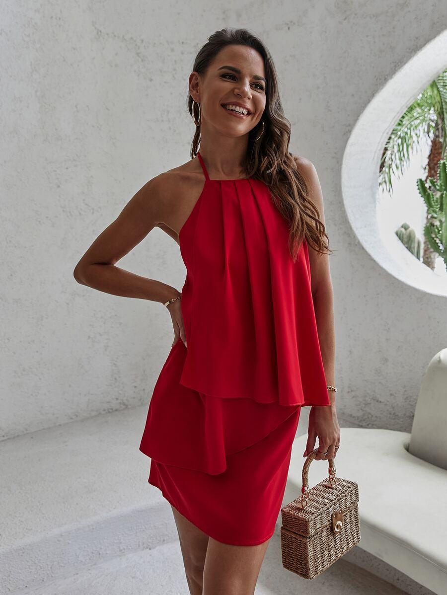 Solid Backless Halter Dress | SHEIN USA