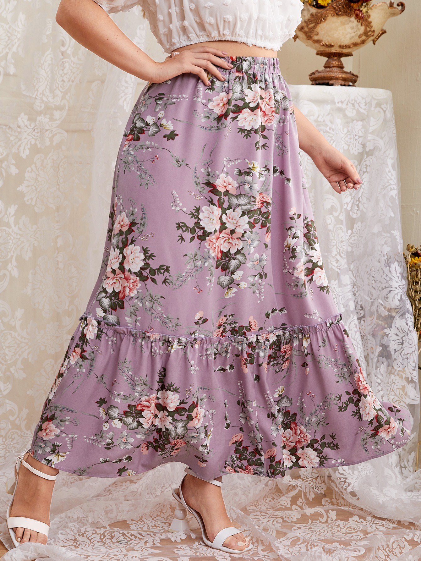 Plus Floral Print Ruffle Hem Skirt
