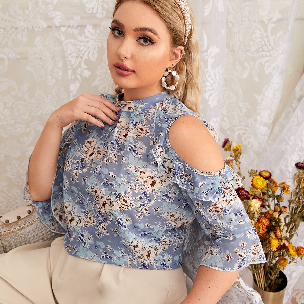 Plus Allover Floral Ruffle Cut Out Blouse