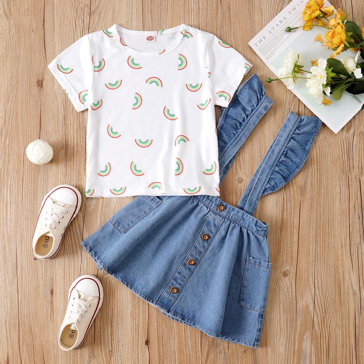 Toddler Girls Rainbow Print Tee With Ruffle Denim Pinafore Skirt