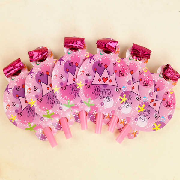 6pcs Birthday Party Whistle, Pink
