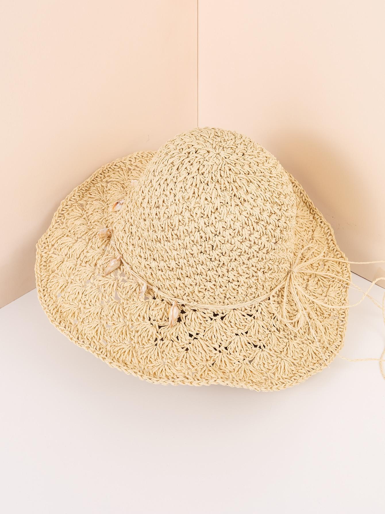 shell decor straw hat