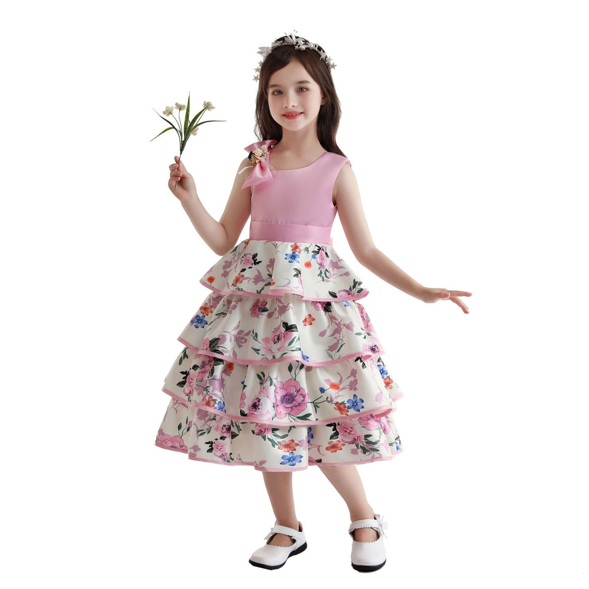 Toddler Girls Floral Print Layered Hem Bow Front Gown Dress, SHEIN  - buy with discount