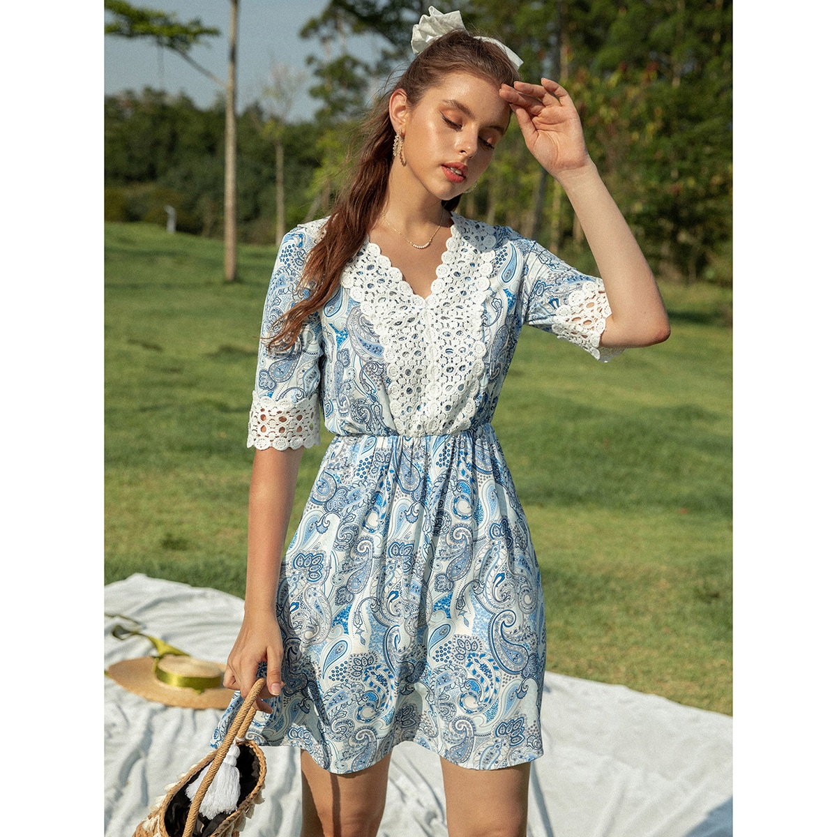 Paisley Print Guipure Lace Panel Dress, SHEIN  - buy with discount