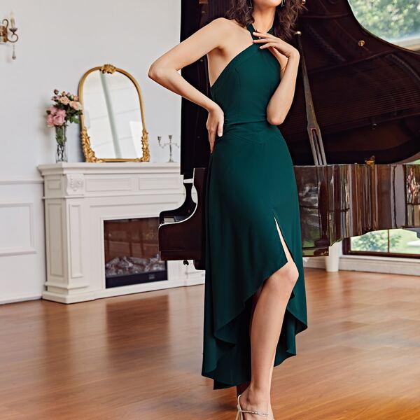 Split Hem Halter Dress, Dark green