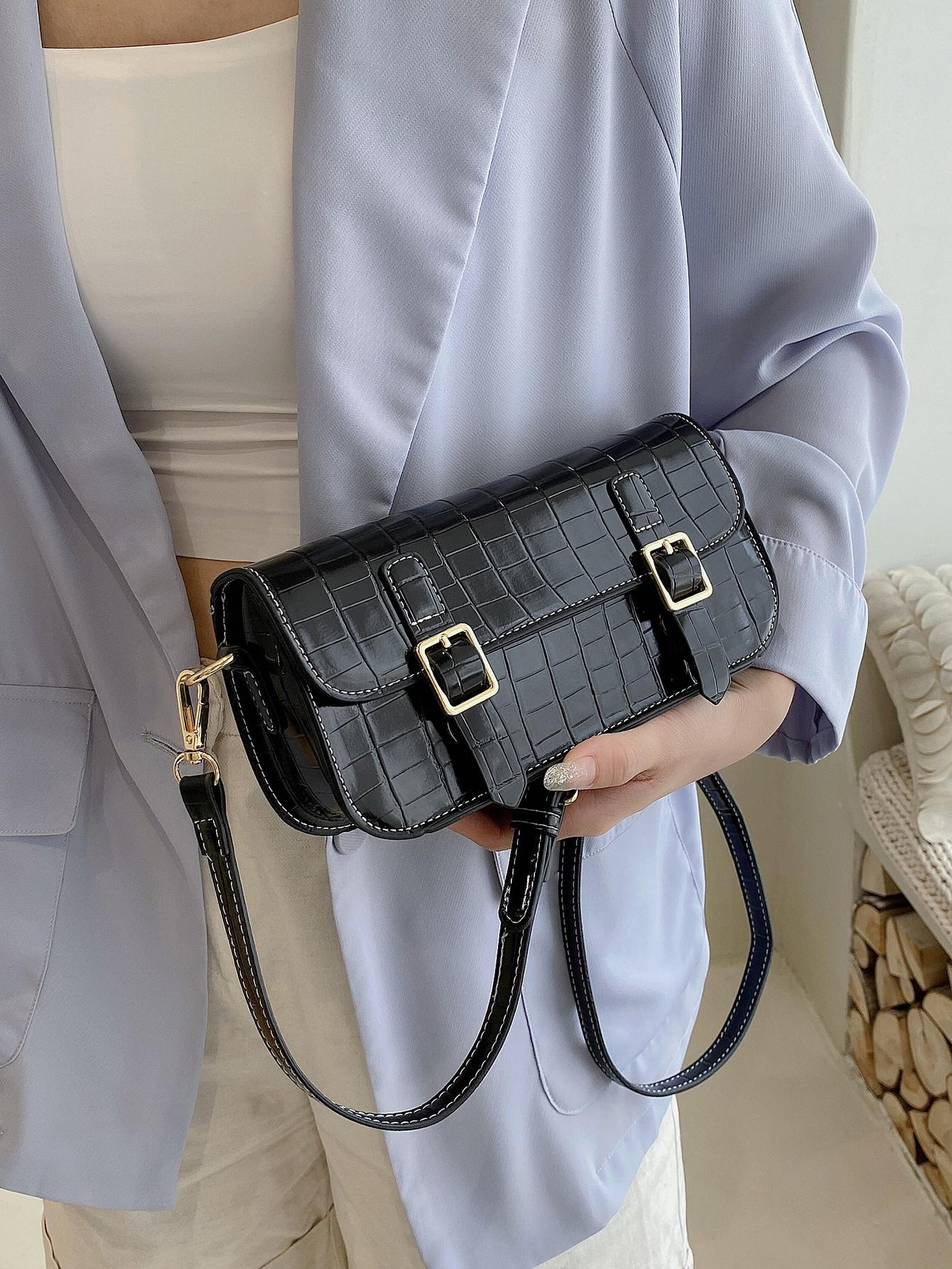 pin buckle front crossbody bag