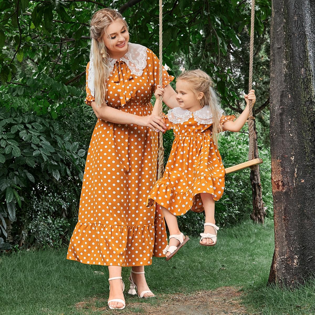 Plus 1pc Polka-dot Print Ruffle Hem Dress