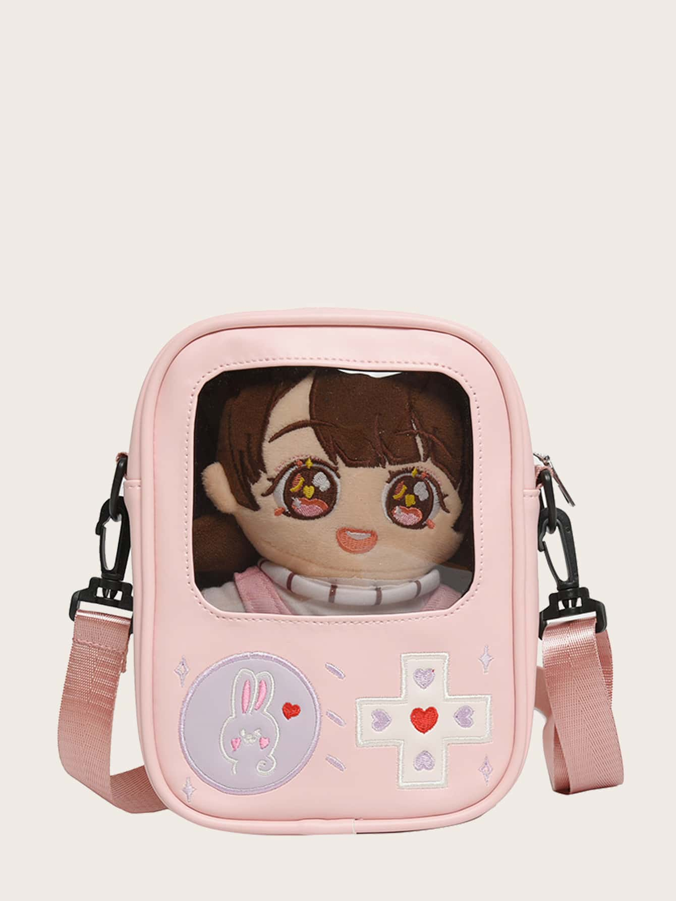 girls cartoon embroidery crossbody bag without doll