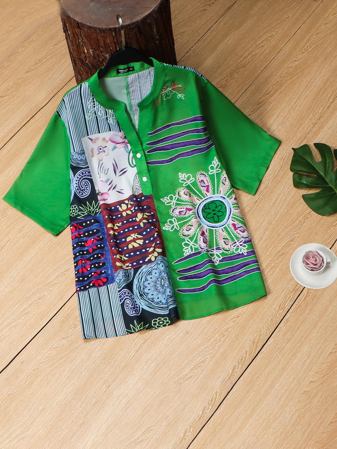 Plus Floral And Patchwork Print Half Button Blouse