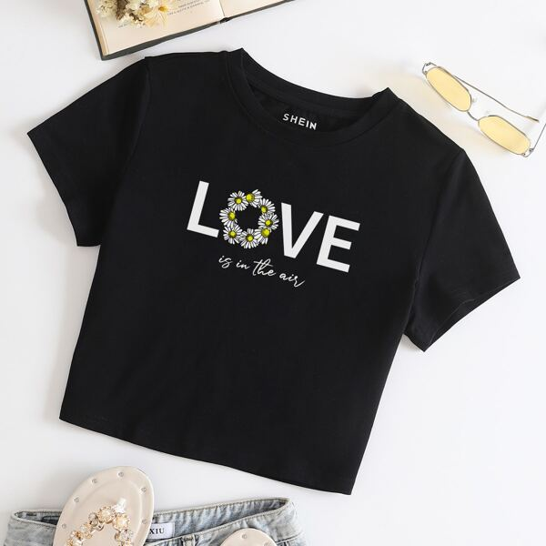 Daisy Floral And Slogan Graphic Tee, Black