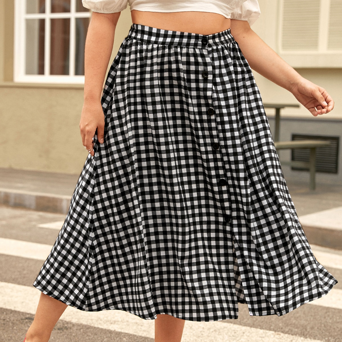 Plus Gingham Print Button Front Skirt, SHEIN  - buy with discount