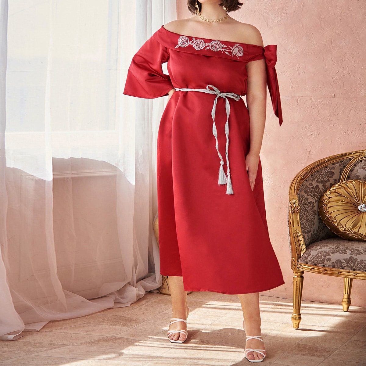 Plus Knot Off Shoulder Embroidery Floral Belted Dress