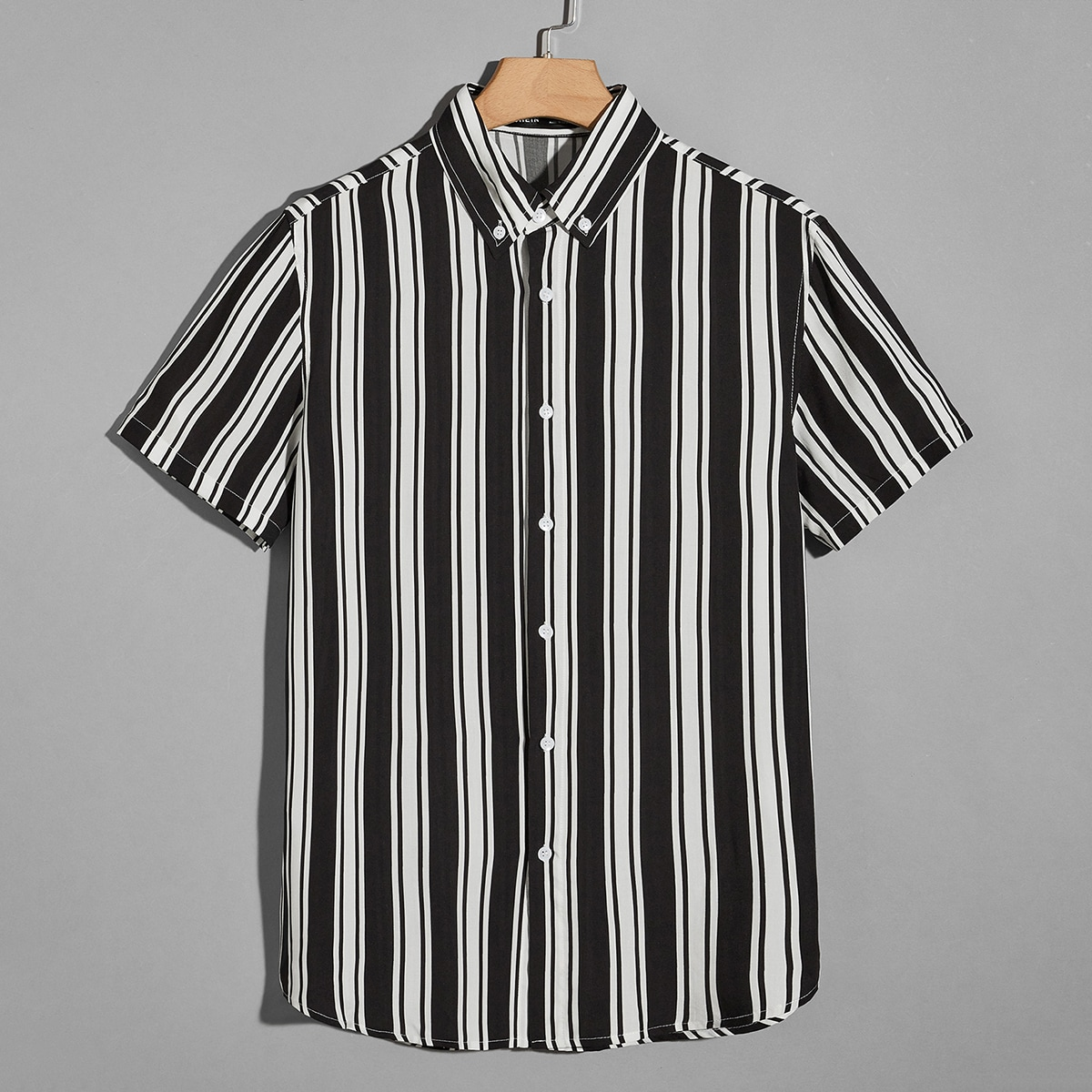 Мужская рубашка на пуговицах в полоску SheIn smshirt07210525684