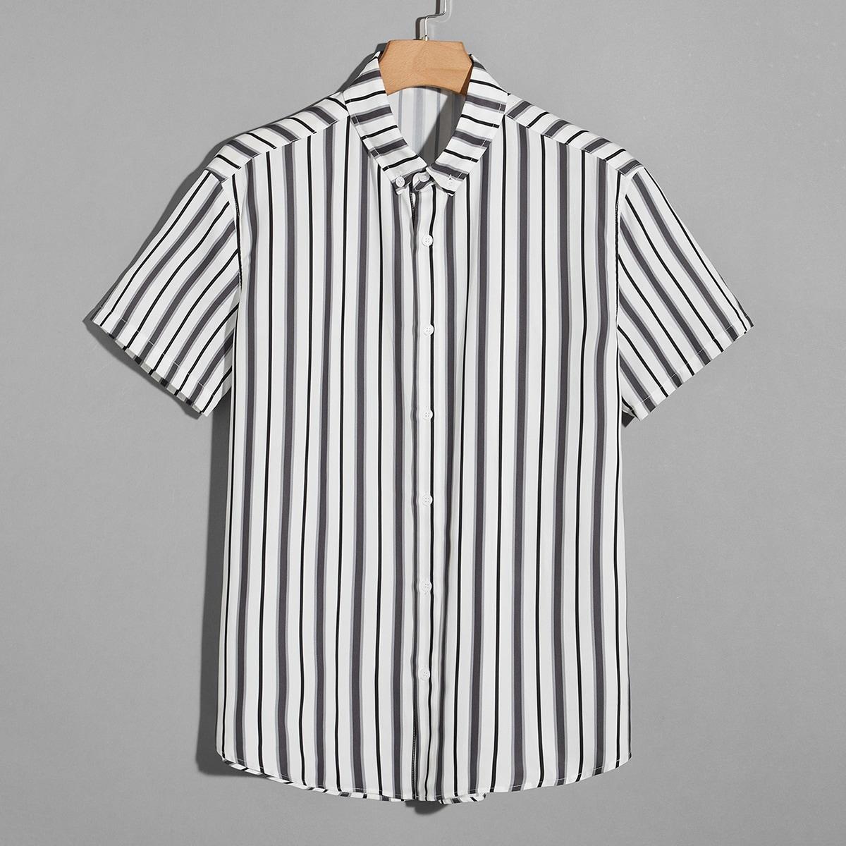 Мужская рубашка на пуговицах в полоску SheIn smshirt07210525545