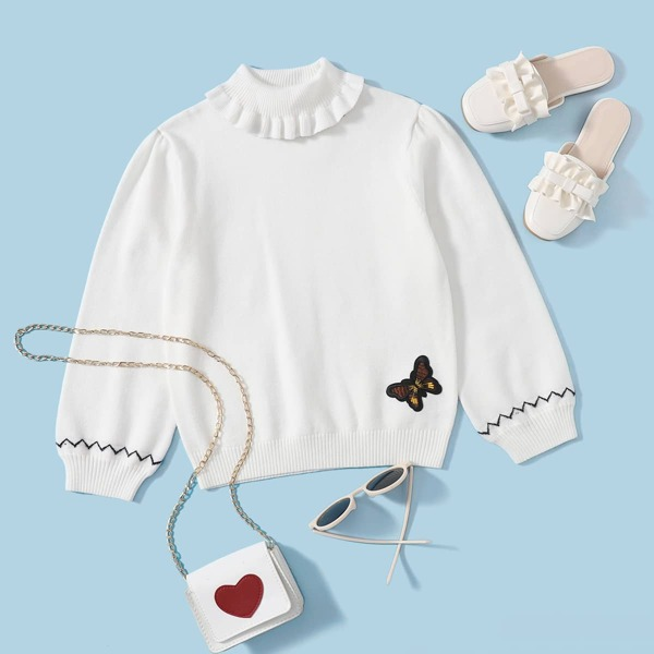 Girls Chevron Butterfly Embroidery Patched Ruffle Trim Sweater, White