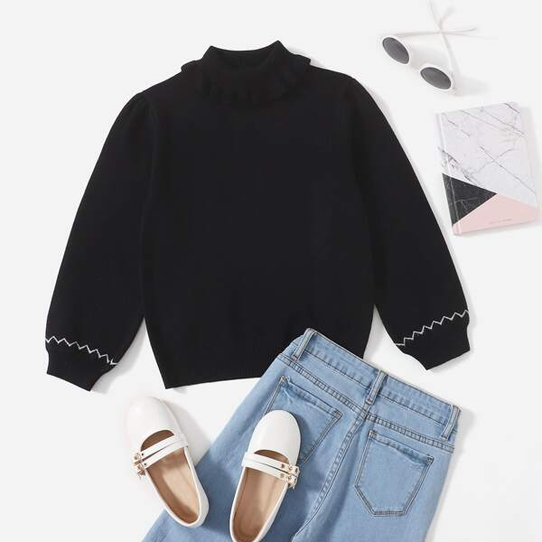 Girls Chevron Pattern Ruffle Trim Turtle Neck Sweater, Black