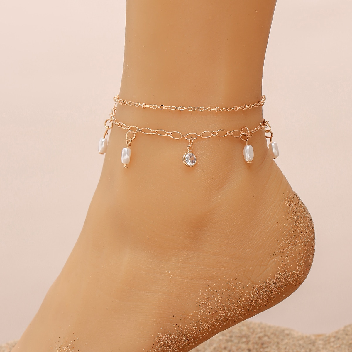 Faux Pearl & Zircon Charm Anklet, SHEIN  - buy with discount