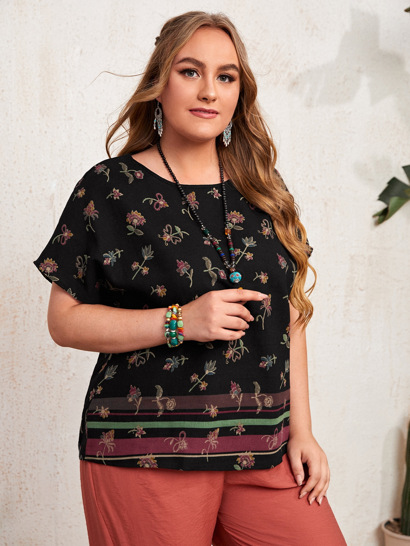 Plus Floral Embroidery Batwing Sleeve Blouse
