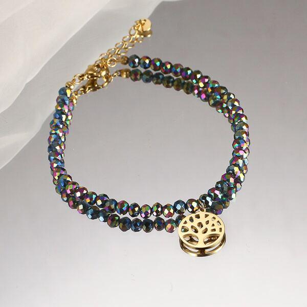 Tree Charm Beaded Bracelet, Multicolor