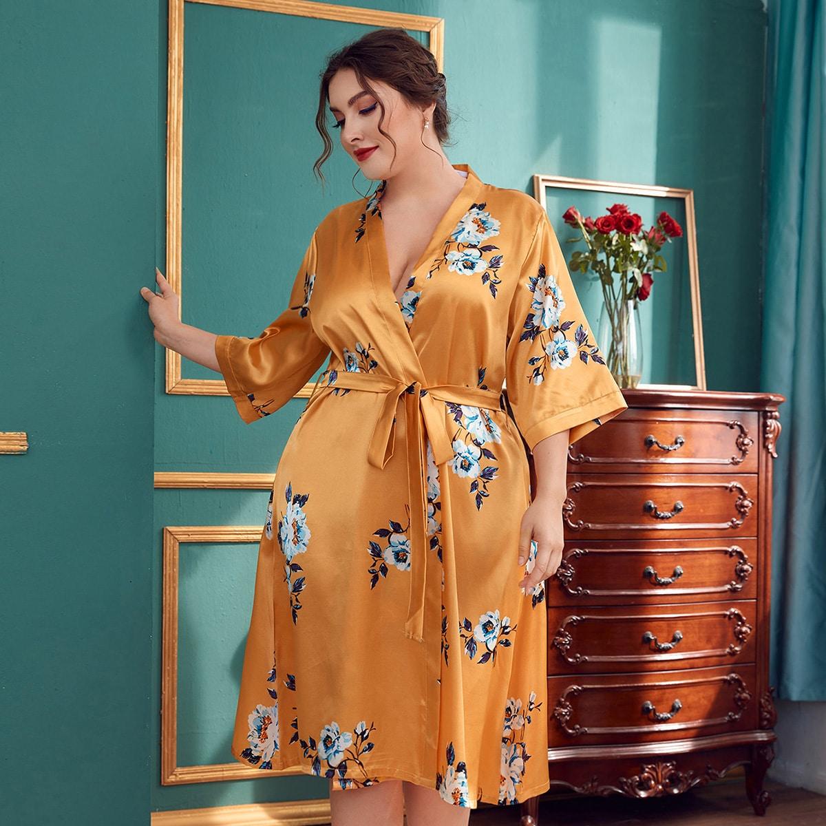 с поясом Со цветочками Элегантный Домашние халаты и комплекты размер плюс