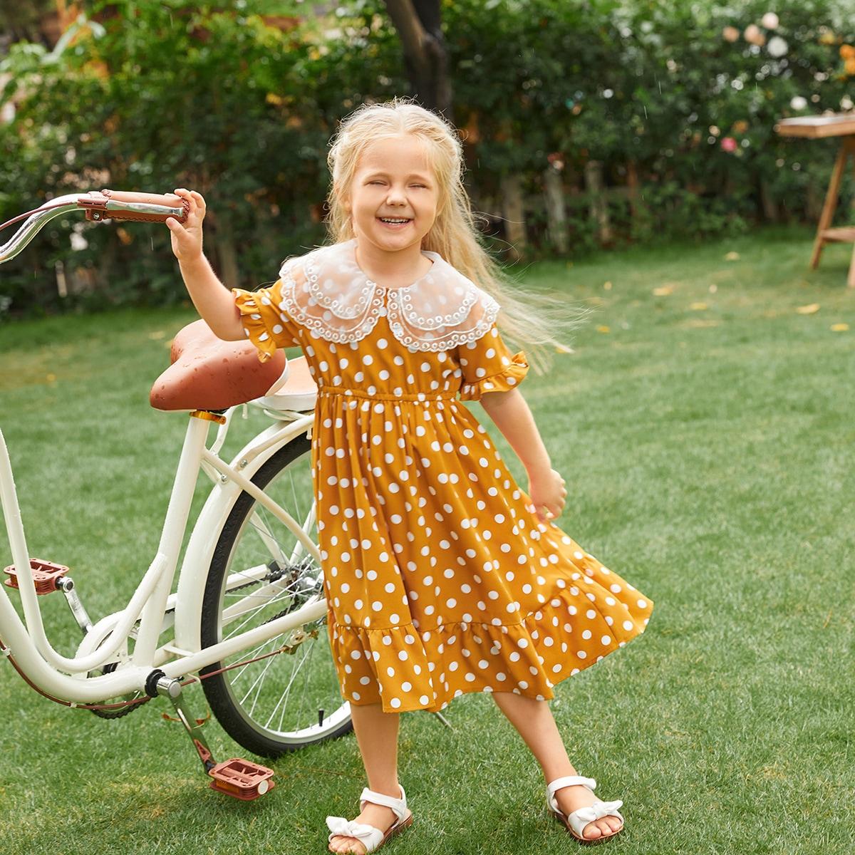 Toddler Girls 1 PC Organza Collar Ruffle Trim Polka Dot Dress, SHEIN  - buy with discount