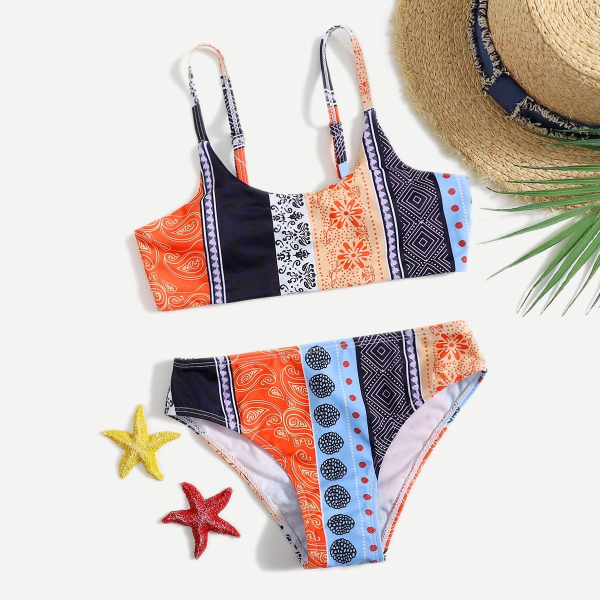 Niñas Bañador bikini con estampado geométrico con paisley