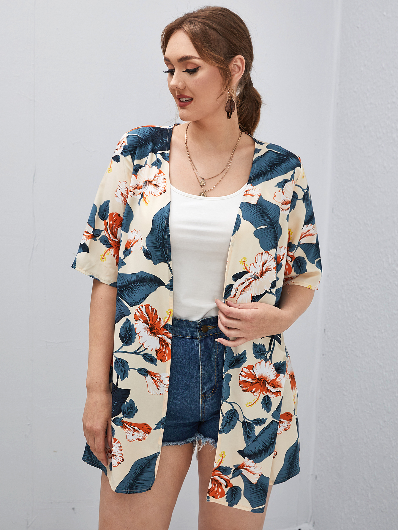 Plus Floral & Tropical Print Kimono