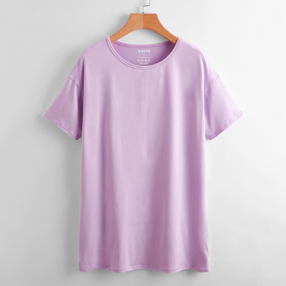 Однотонная футболка SheIn swtee24210601776