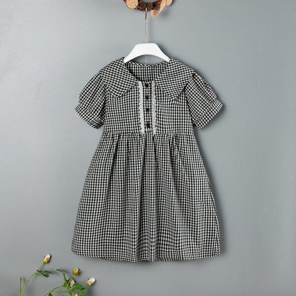 Girls Gingham Peter Pan Collar Smock Dress, Black and white