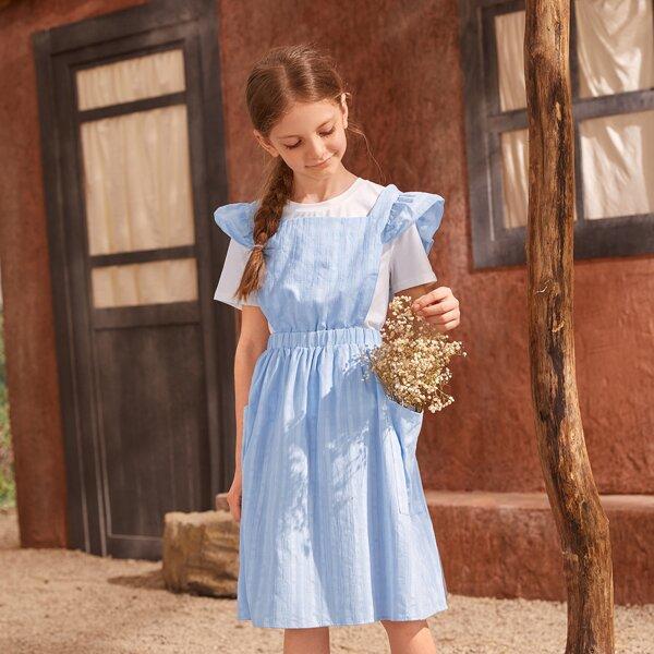 Girls 100% COTTON Ruffle Trim Crisscross Back Dress Without Top, Baby blue