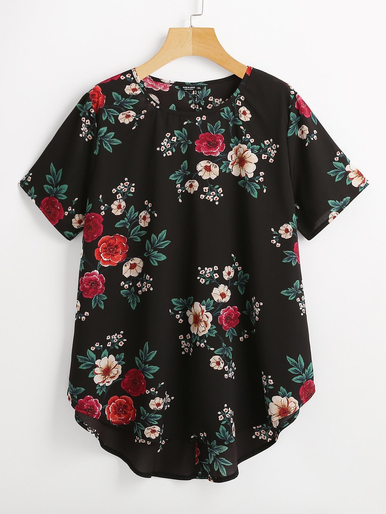 Plus Floral Print Round Neck Blouse