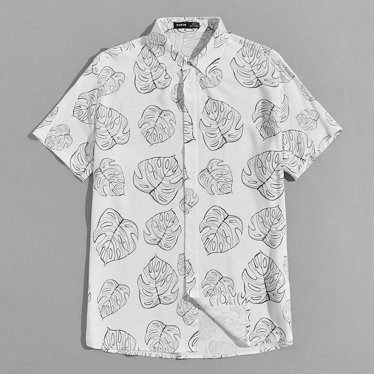 Мужской Рубашка с принтом листьев SheIn smshirt07210519651