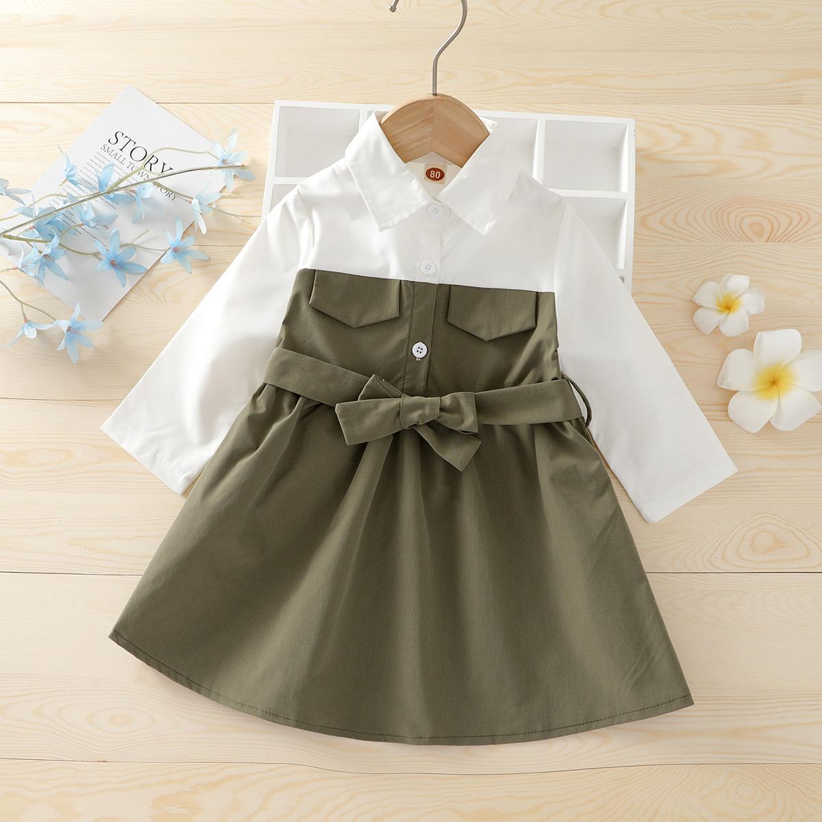 для девочек Платье-рубашка двухцветный поясом от SHEIN