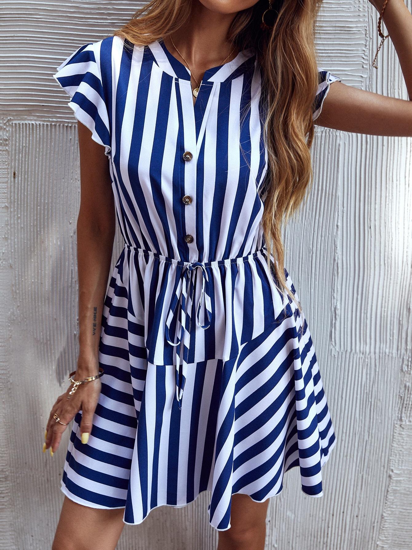 striped ruffle hem knotted dress