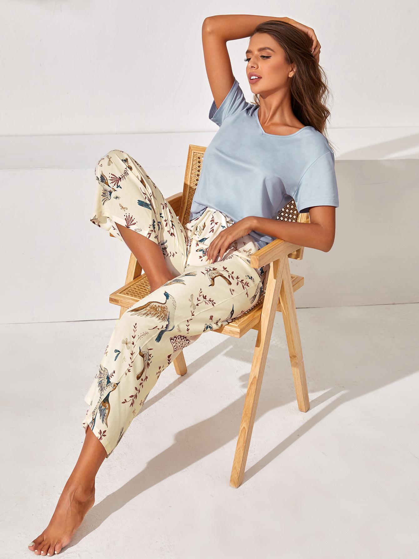 Animal And Plants Print Pajama Set