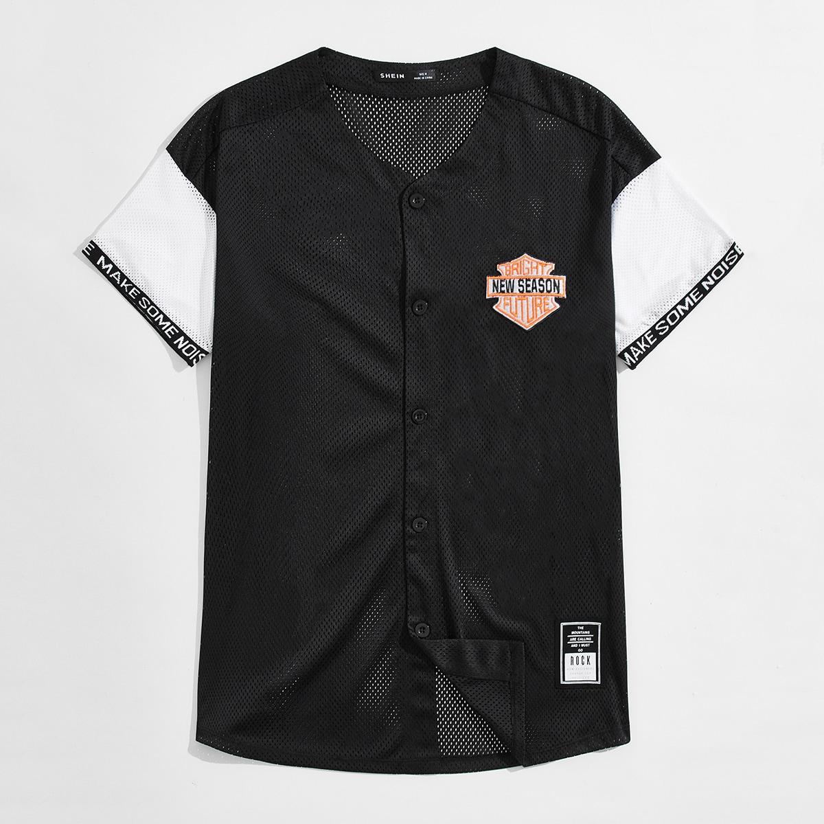 Мужская контрастная сетчатая рубашка с текстовой заплатой