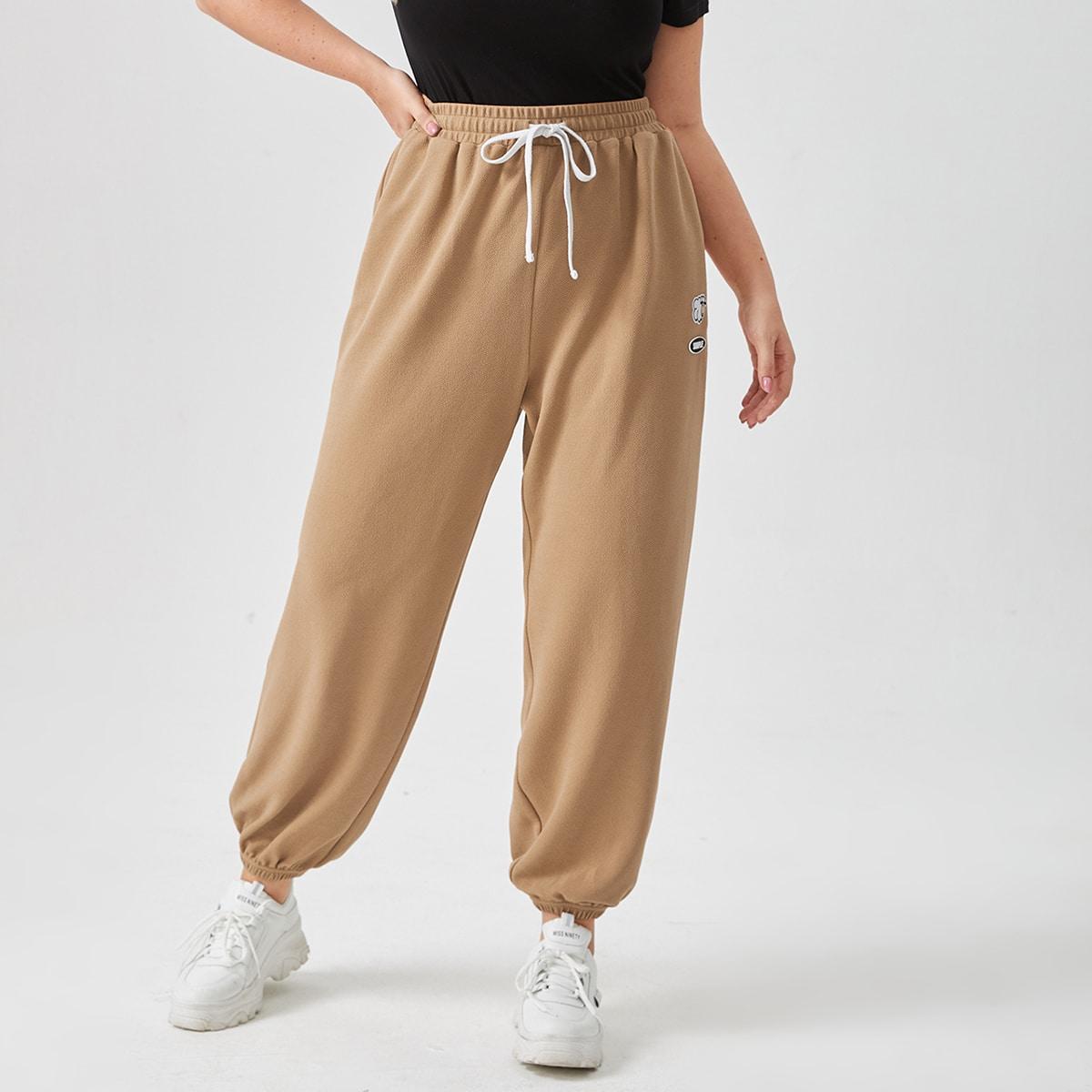 Pantalones Joggers en Tallas Grandes Cordón Parches Bolsillo Dibujos animados Letras