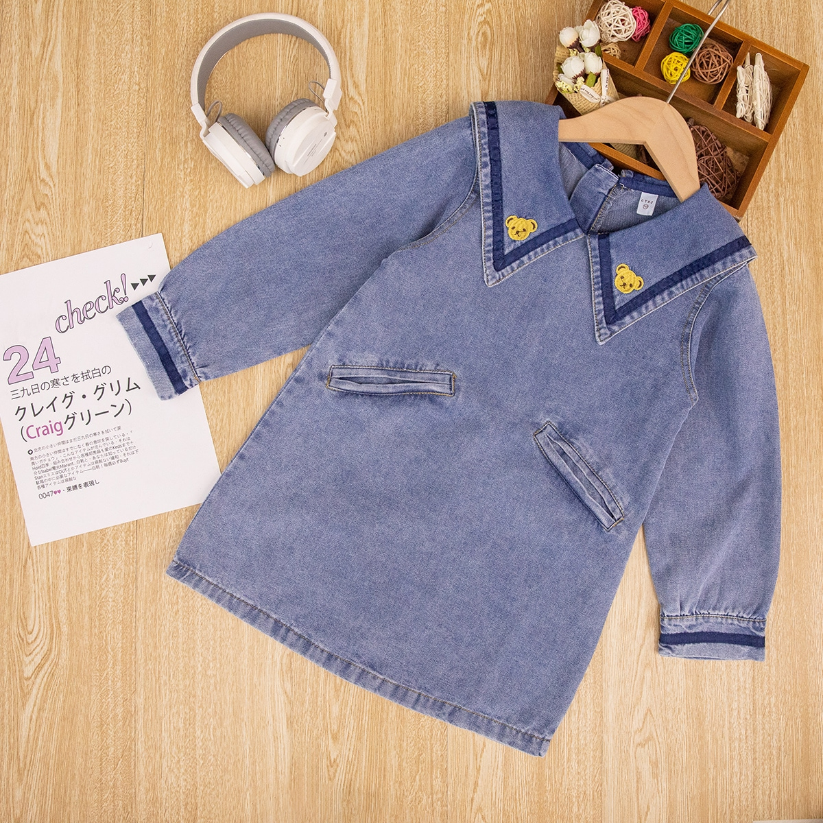 для девочек Джинсовое платье вышивкой медведя драматический воротник SheIn skdress25210531633