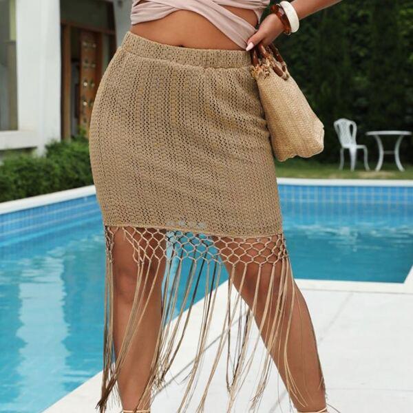 Plus Fringe Hem Skirt, Khaki