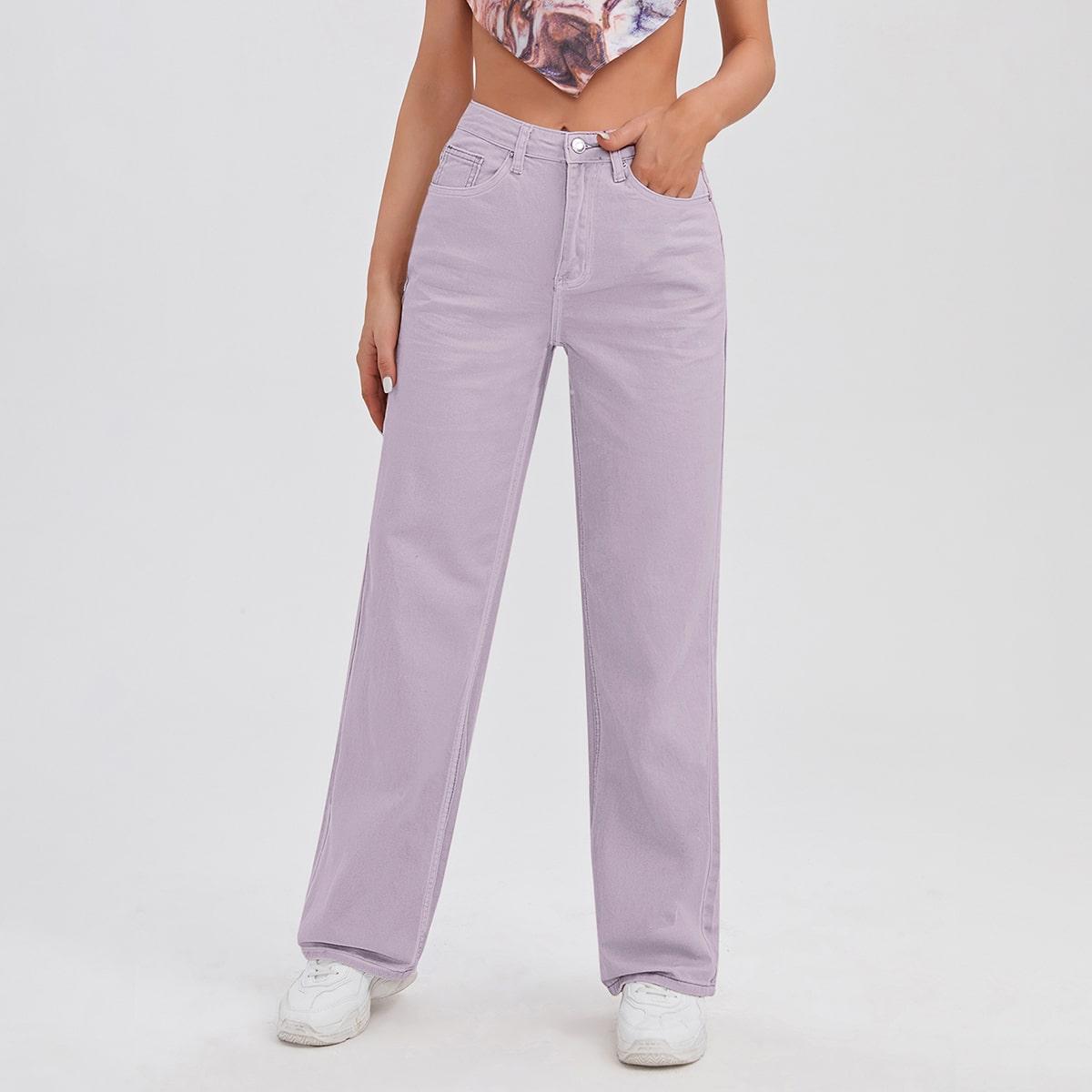Прямые джинсы с карманом и высокой талией