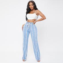 Lace Up Raw Trim Curvy Jeans