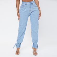High Waist Knot Detail Jeans