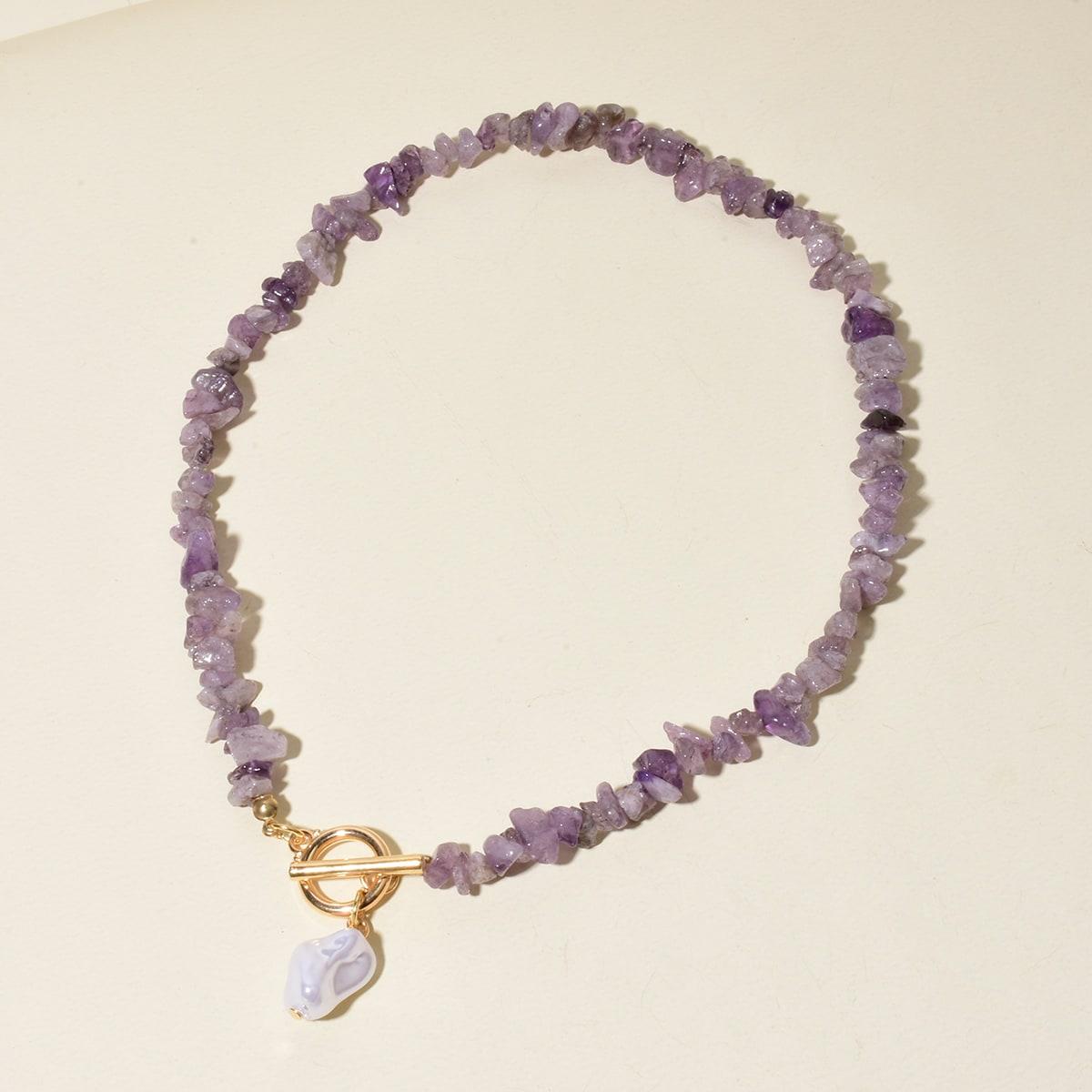 Faux Pearl Pendant Stone Necklace