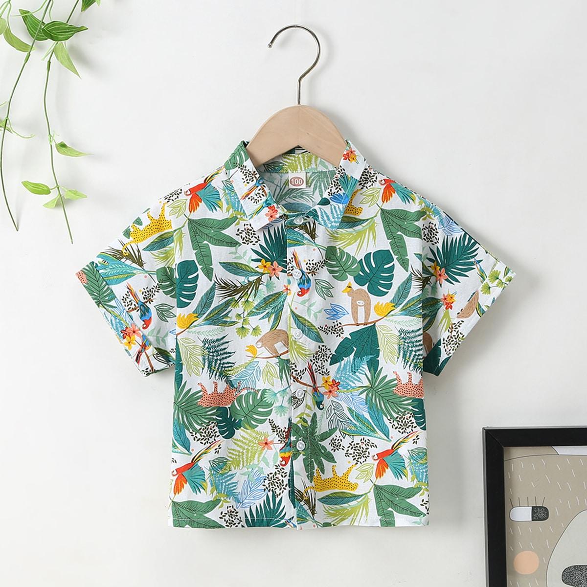 для мальчиков Рубашка тропический и с животным принтом