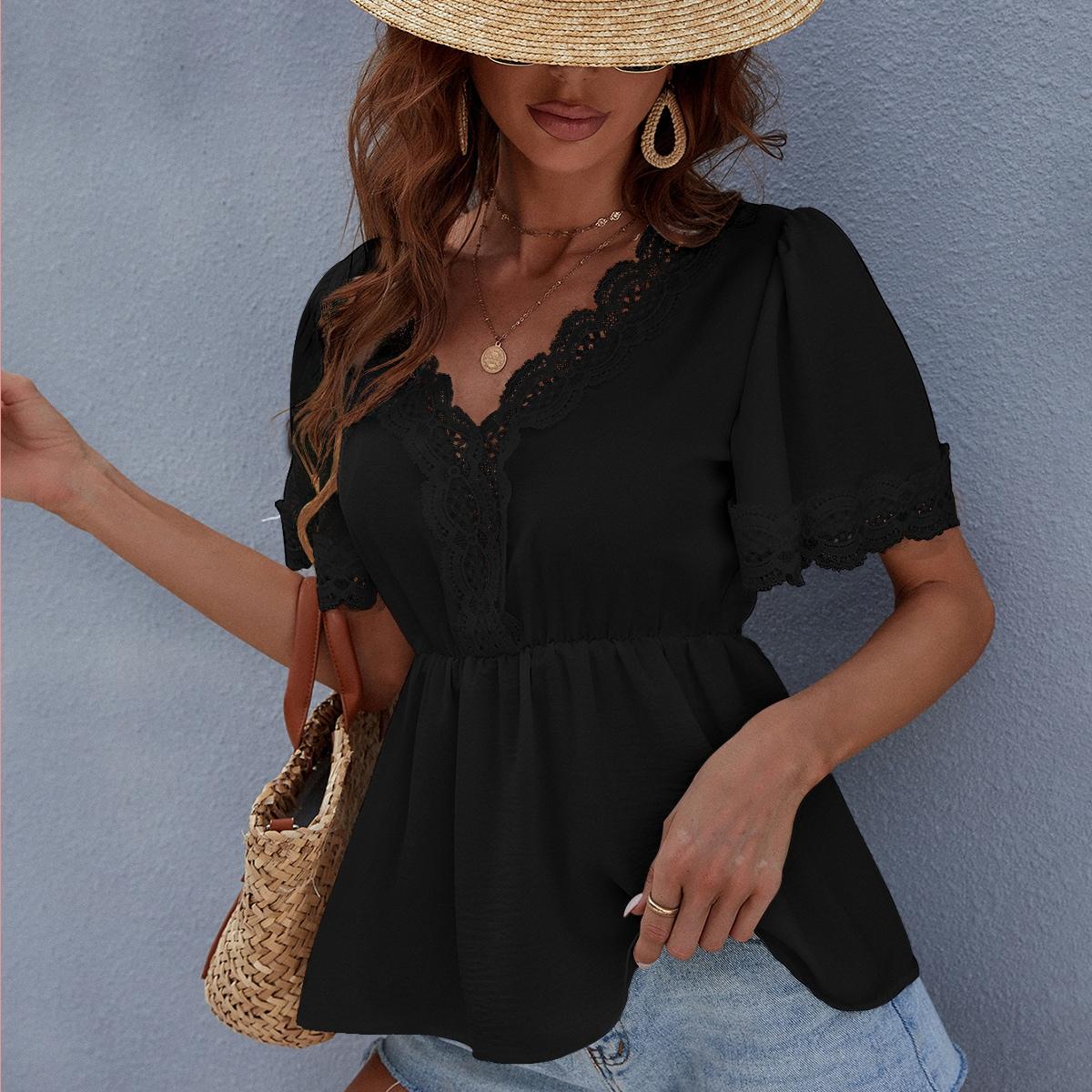 Блуза с кружевом и оборками SheIn swblouse23210601129