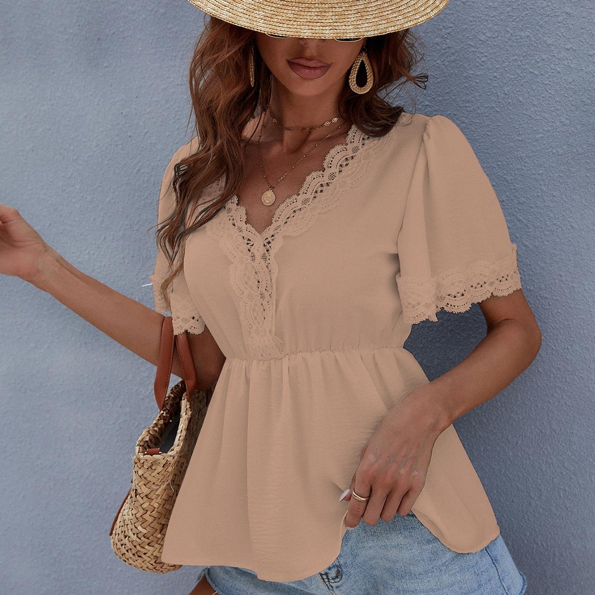 Блуза с оборками и кружевом SheIn swblouse23210601720