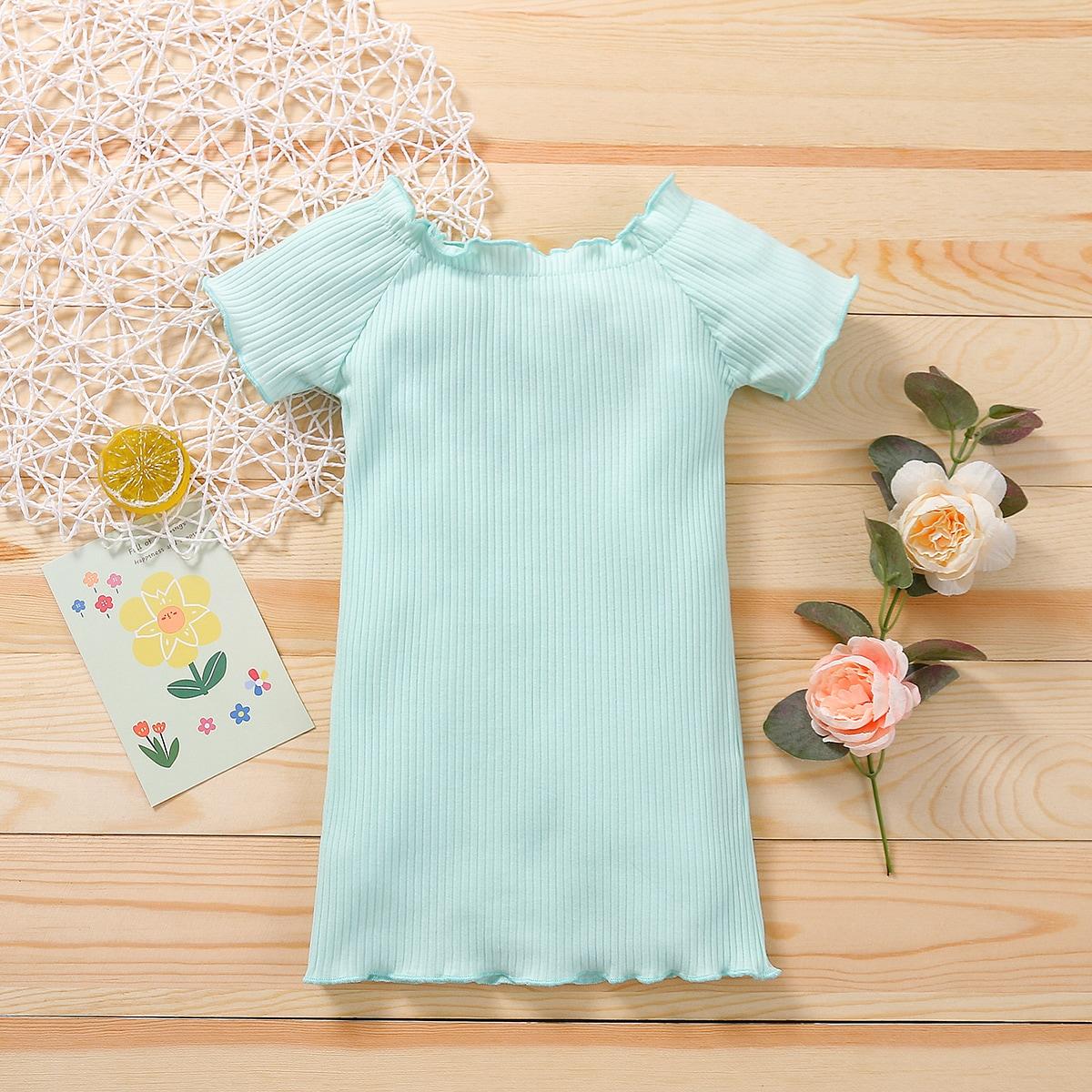 для девочек Платье-футболка волнистой отделкой вязаный в рубчик от SHEIN